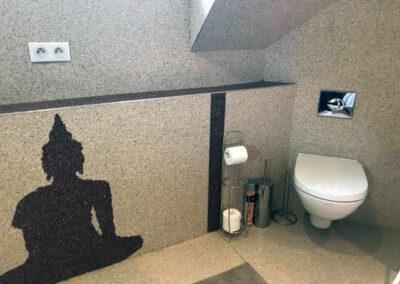 Toilettes en marbre et résine